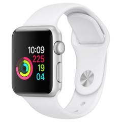 Apple Watch S1, 38mm, viền nhôm, dây cao su màu trắng